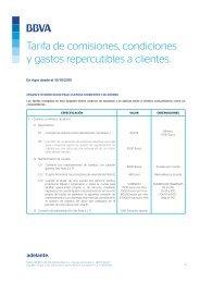 Tarifa de comisiones condiciones y gastos repercutibles a clientes