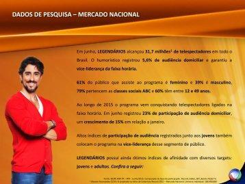 DADOS DE PESQUISA – MERCADO NACIONAL