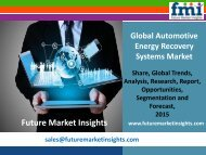 Technology Advancement in Automotive Energy Recovery Systems Market, 2015-2025 by FMI