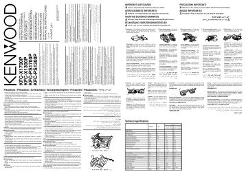 Kenwood KFC-X1300P - Manuale d'Istruzioni KFC-X1300P