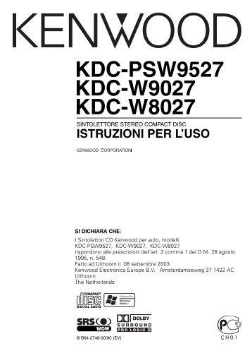 Kenwood KDC-PSW9527 - Manuale d'Istruzioni KDC-PSW9527