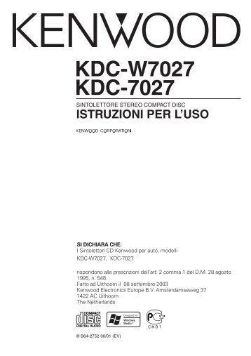 Kenwood KDC-W7027 - Manuale d'Istruzioni KDC-W7027