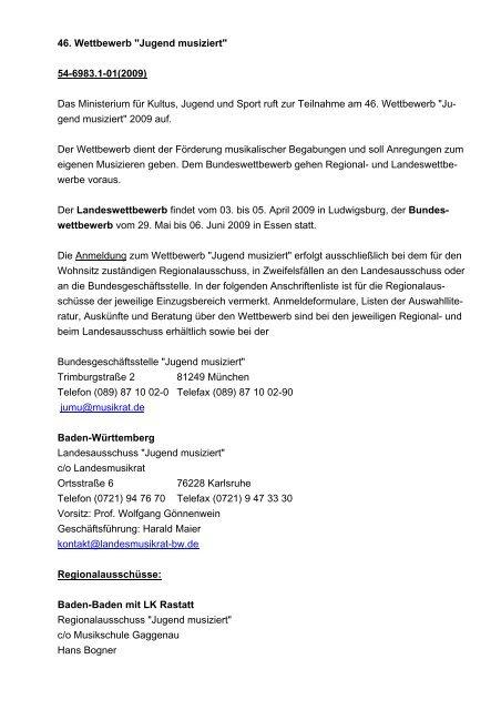"""46. Wettbewerb """"Jugend musiziert"""" 54-6983.1-01(2009) Das ..."""