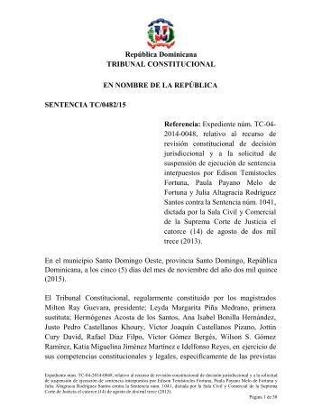 Sentencia TC-0482-15