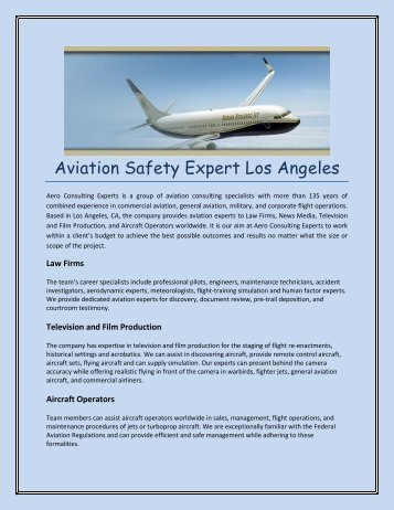Aviation Safety Expert Los Angeles