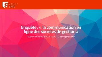 Enquête  « la communication en ligne des sociétés de gestion »