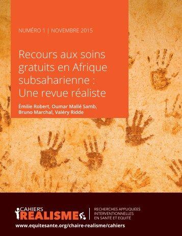 Recours aux soins gratuits en Afrique subsaharienne  Une revue réaliste
