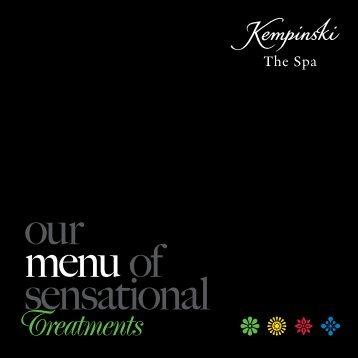 menu of sensational