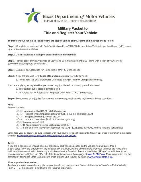 Texas Car Inspection >> Military Packet To Title And Register Your Vehicle