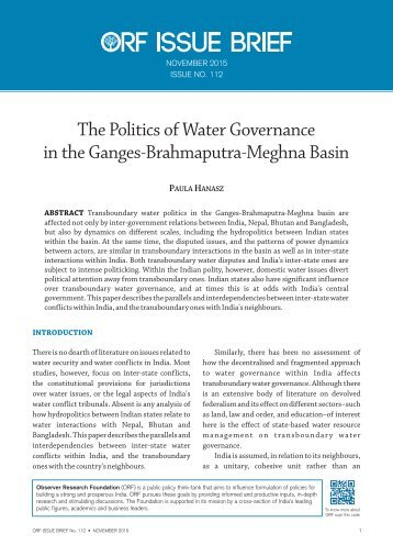 The Politics of Water Governance in the Ganges-Brahmaputra-Meghna Basin