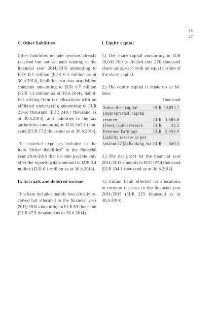 Annual Report Euram Bank AG 2014 / 2015