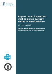 Report on an inspection visit to police custody suites in Hertfordshire