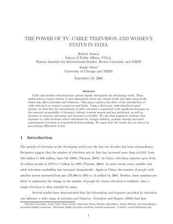 Cable Television and Women's - Personal Web Pages - University of ...