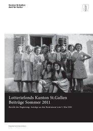 Lotteriefondsbotschaft Sommer 2011 - Kanton St. Gallen