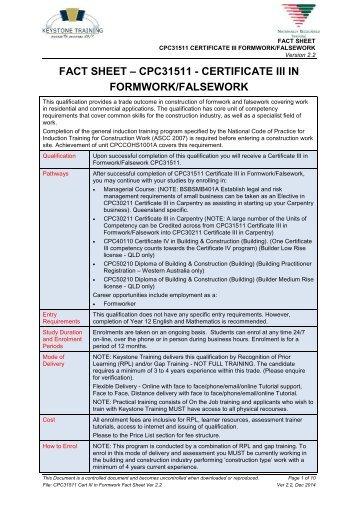 FACT SHEET – CPC31511 - CERTIFICATE III IN FORMWORK/FALSEWORK