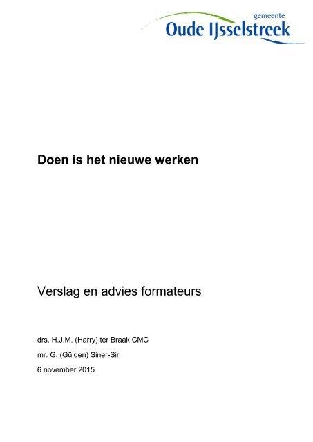 Doen is het nieuwe werken Verslag en advies formateurs
