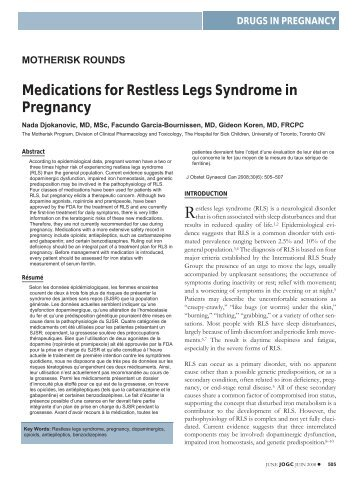 Medications for Restless Legs Syndrome in Pregnancy - JOGC