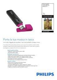 Philips GoGEAR Lettore MP3 - Scheda tecnica - ITA