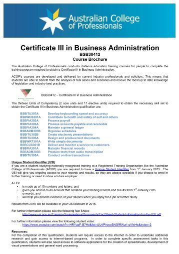 Certificate III in Business Administration