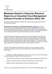 Metalogix Named in Osterman Research Report as an Essential Cloud Management Software Provider to Enhance Office 365