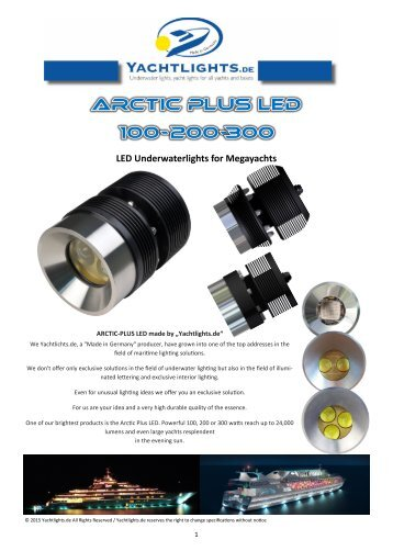 Weldable underwater lights for steel and aluminum hull 10.2015