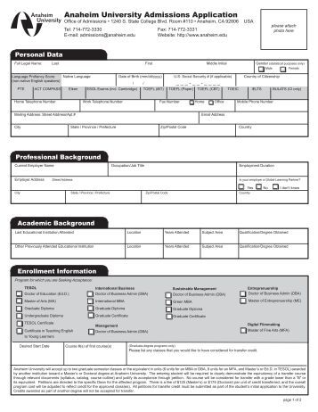 Anaheim University Admissions Application