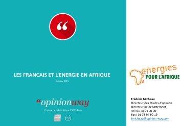 LES FRANCAIS ET L'ENERGIE EN AFRIQUE