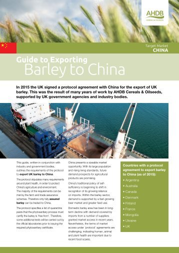 Barley to China