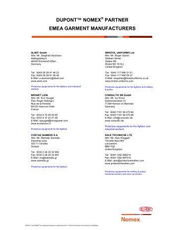 partner emea garment manufacturers - DuPont
