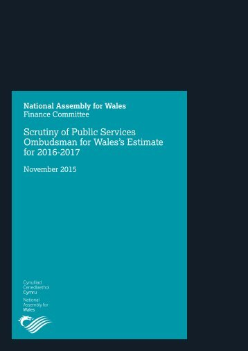 Scrutiny of Public Services Ombudsman for Wales's Estimate for 2016-2017