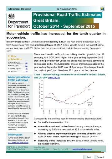 Provisional Road Traffic Estimates Great Britain October 2014 - September 2015