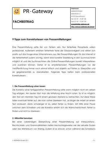 9 Tipps zum Korrekturlesen von Pressemitteilungen