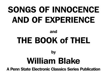 Songs of Innocence and of Experience and The - Pennsylvania ...