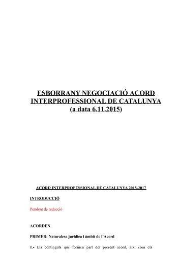 ESBORRANY NEGOCIACIÓ ACORD INTERPROFESSIONAL DE CATALUNYA (a data 6.11.2015)