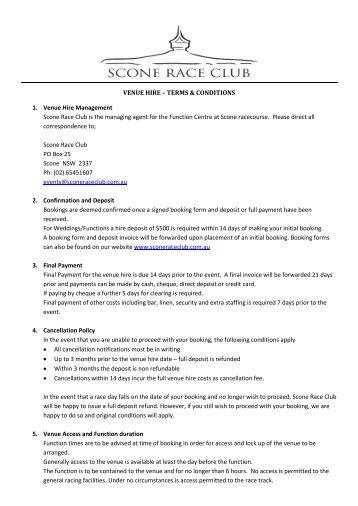 VENUE HIRE – TERMS & CONDITIONS 1 ... - Scone Race Club