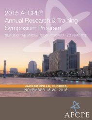 2015 AFCPe Annual research & Training Symposium Program