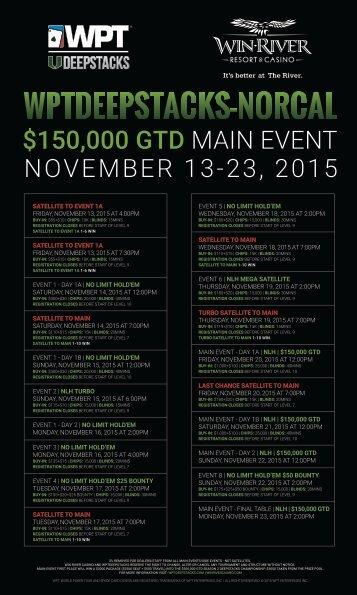 $150,000 GTD MAIN EVENT NOVEMBER 13-23 2015