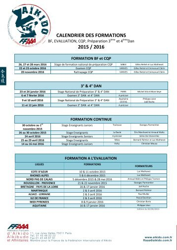 CALENDRIER DES FORMATIONS 2015 / 2016