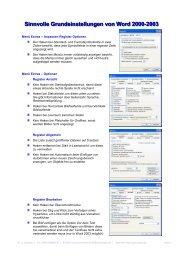 Sinnvolle Grundeinstellungen von Word 2000-2003