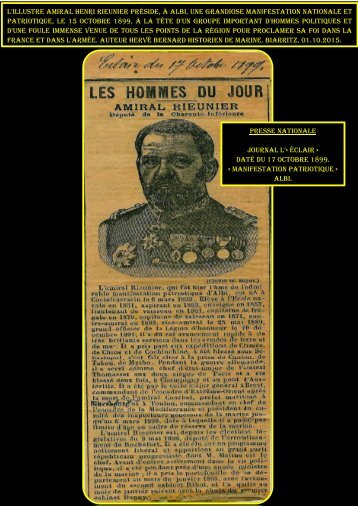 amiral Henri rieunier - grandiose manifestation nationale Albi, le 15 ...
