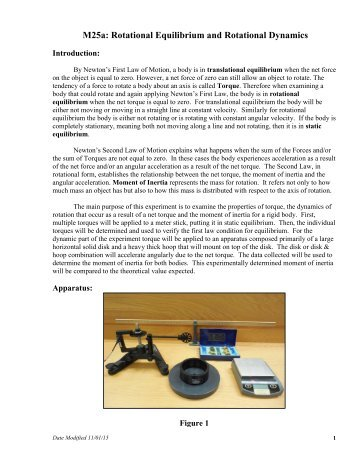 rotational dynamics experiment Laboratory vii rotational dynamics lab vii - 1 describing rotations requires applying the physics concepts you have already been studying – position,  video analysis equipment in this.