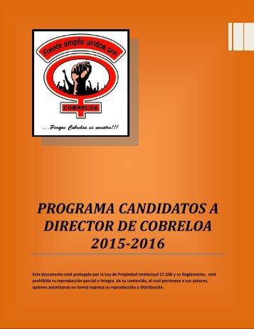 PROGRAMA CANDIDATOS A DIRECTOR DE COBRELOA 2015-2016