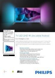 Philips 7000 series TV UHD 4K ultra sottile Android™ - Scheda tecnica - ITA