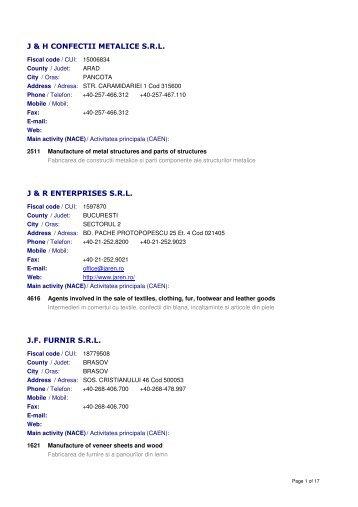 J & H CONFECTII METALICE S.R.L. J & R ENTERPRISES ...