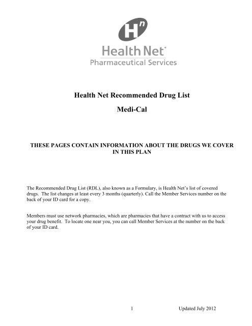 Health Net Recommended Drug List Medi Cal