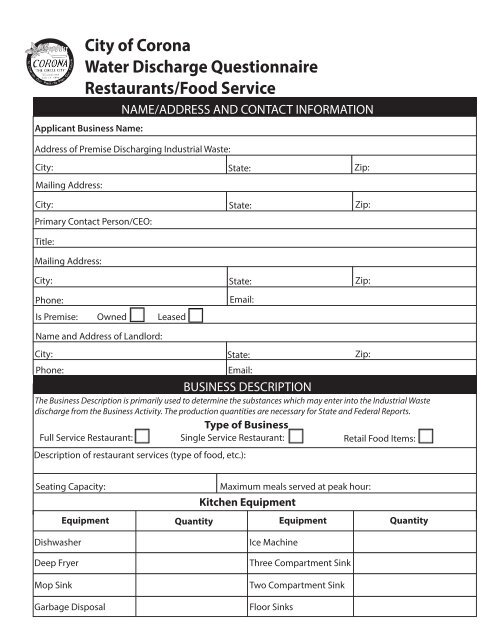 City of Corona Water Discharge Questionnaire Restaurants