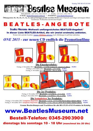 Beatles Museum - Katalog 56 mit Hyperlinks