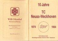 Clubheft des TCW - Ausgabe für 1984