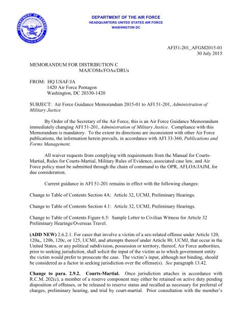 AFI 51-201, 21 - Air Force Link