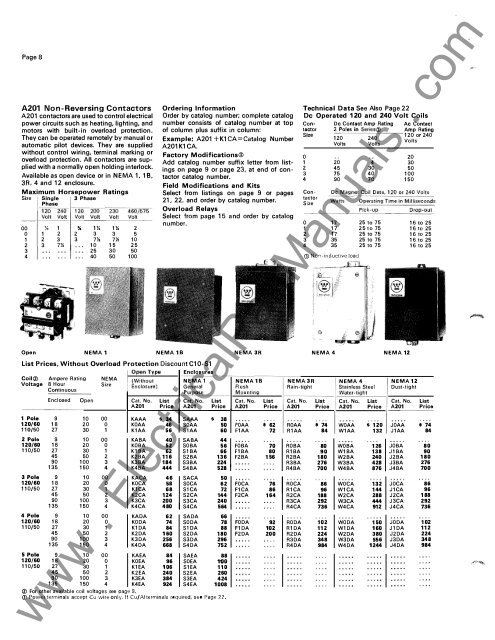Page 8 A201 Non-Reversing Westinghouse A Maxx Wiring Diagram on